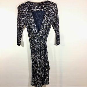Ann Taylor Navy/Tan Print Wrap Dress
